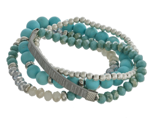 Semi Precious Beaded Stretch Bracelet
