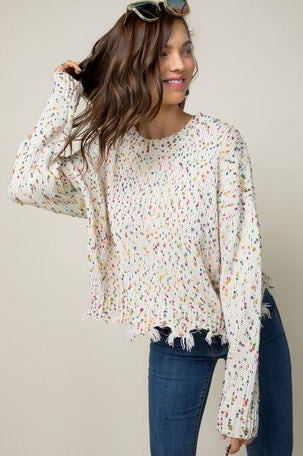 Round Neck Long Sleeve Frayed Detail Sweater
