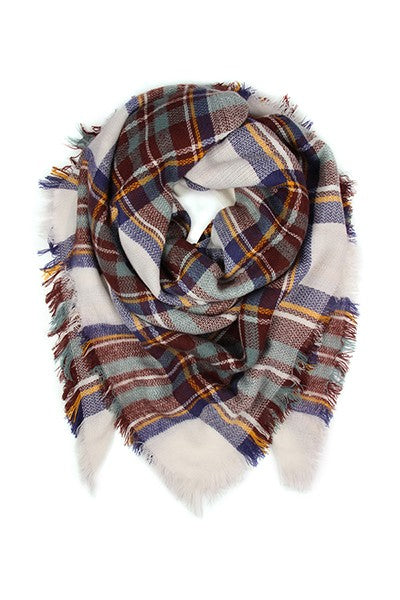 Fringe Blanket Plaid Scarf