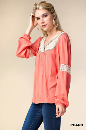 Kori America Long Sleeve Lace Top
