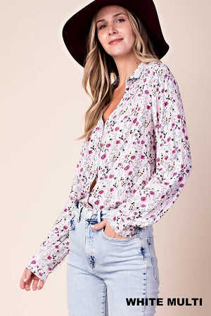 Long Sleeve Button Down Shirt with Smocked Detail
