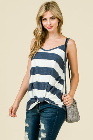 Stripe Front Knot Top