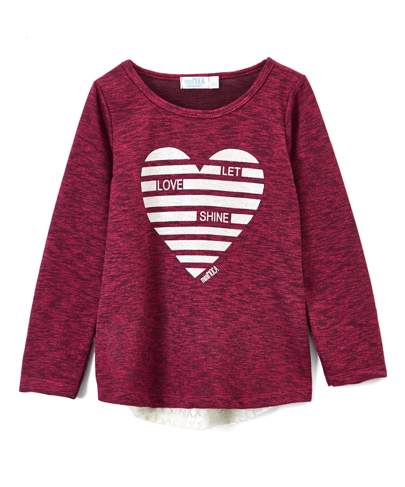 Girls Long Sleeve Raspberry top with Lace detail back
