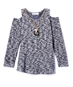 Girls Open Shoulder Soft Top w/Necklace