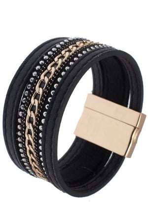 Faux Leather 5 Row Bracelet w/Magnetic Clasp