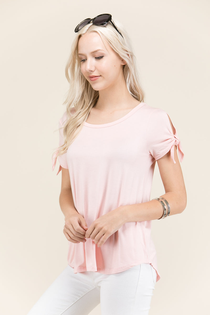 Blush Round Neck Solid Short Sleeve Top