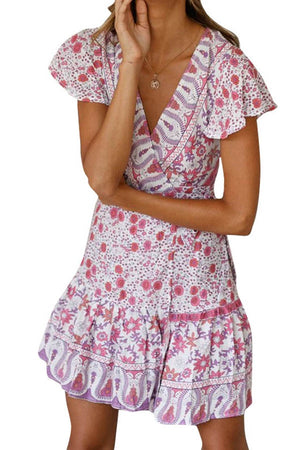 Short Sleeve V Neck Ruffle Floral Print Bow Tie Short Dress