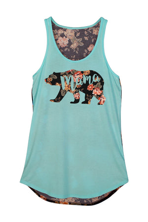 Mama Bear Flower Print Tank Top