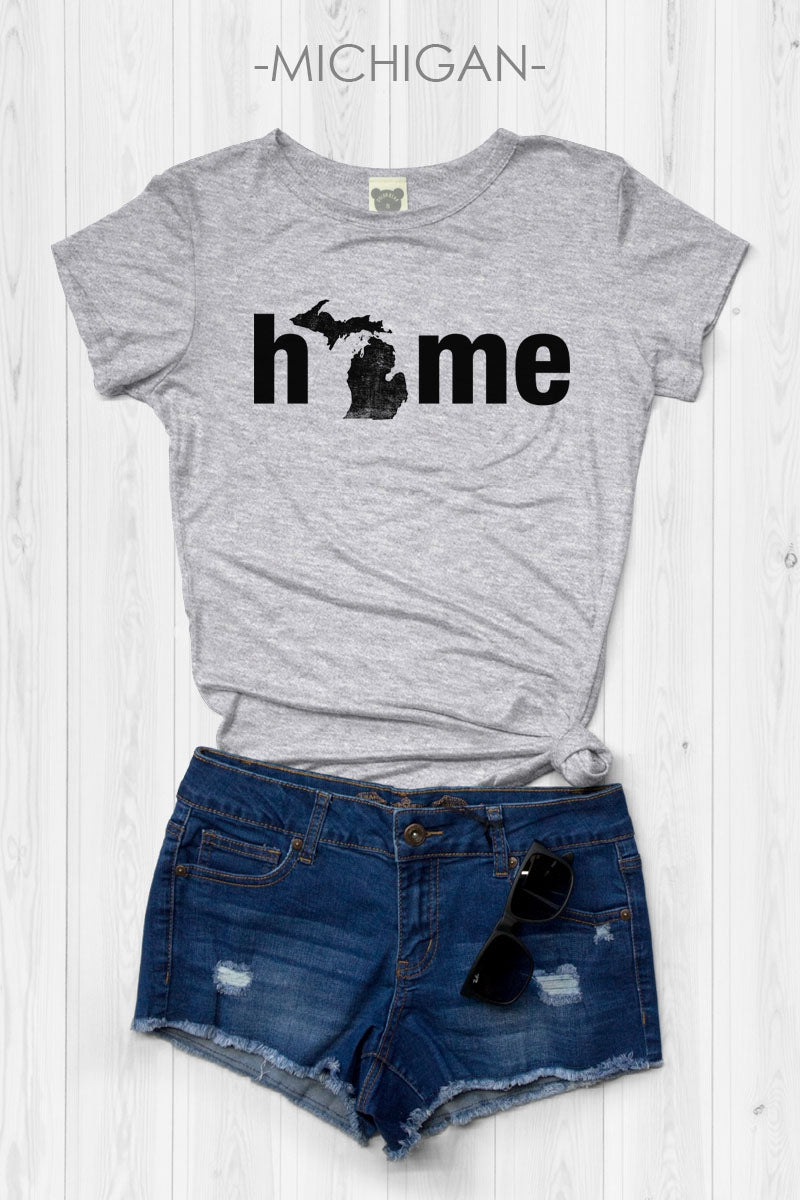 Michigan State Home Design Round Neck Short Sleeve Top