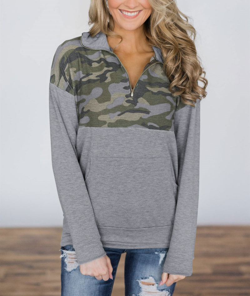 Long Sleeve Zipper Front Pull-Over