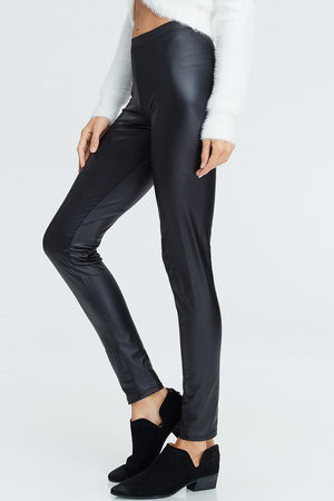 Long Solid Knit Faux Leather Leggings