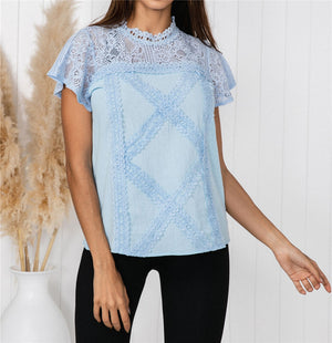 Geometric Lace Solid Color Short Sleeve