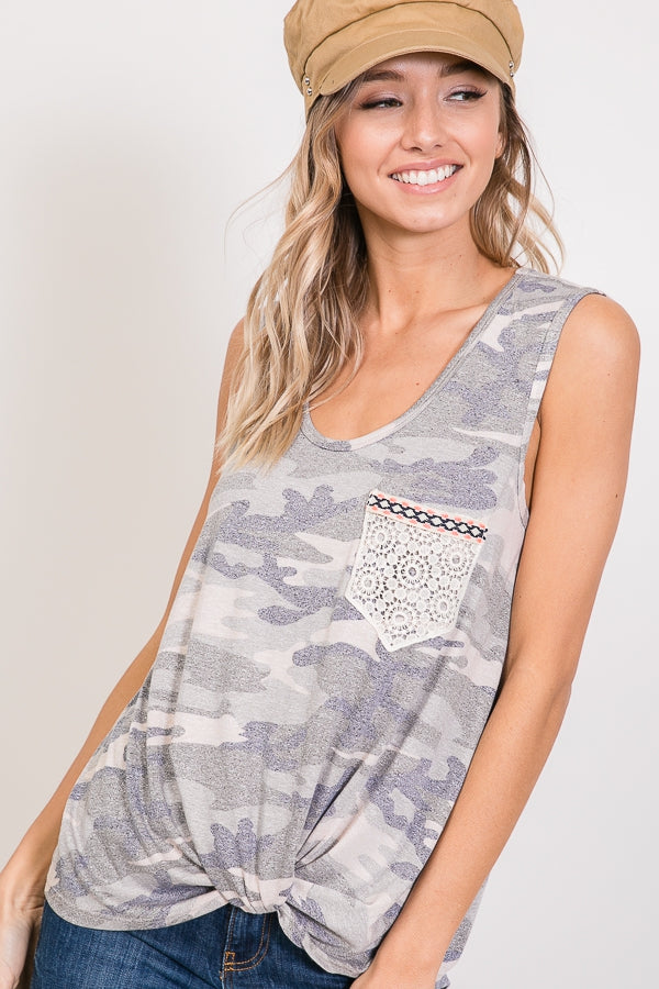Camo Knotted Top with Lace pocket