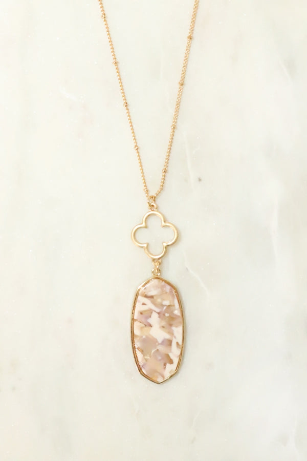Oval cellulose pendant with Clover Necklace
