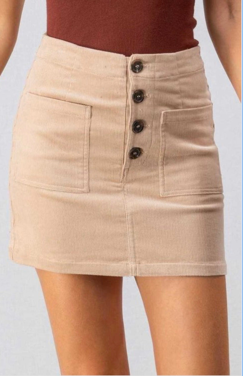 Buttoned Corduroy Mini Skirt with Pockets