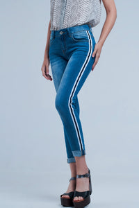 Denim Jeans With Crinkled Legs and Side Stripe - Esquire Label