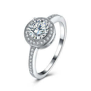 Micro-Pav'e Swarovski Elements Circular Halo Ring Set in White Gold - Esquire Label