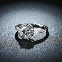 Load image into Gallery viewer, Micro-Pav'e Swarovski Elements Circular Halo Ring Set in White Gold - Esquire Label