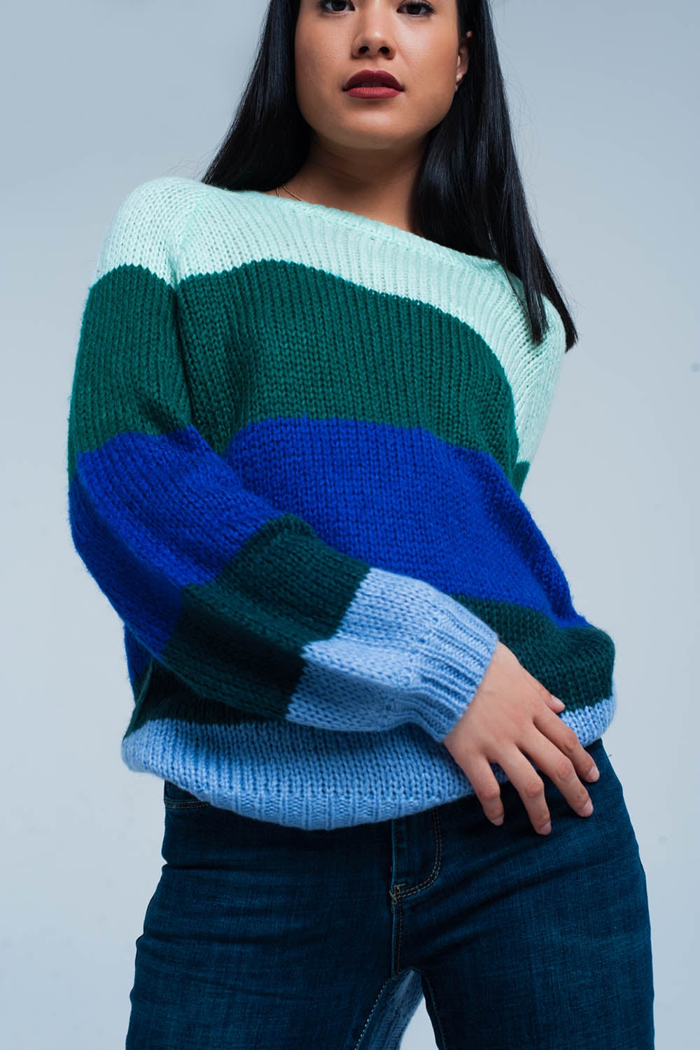 Green Striped Oversized Sweater - Esquire Label