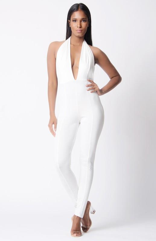 Solid Halter Open Back Jumpsuit - Esquire Label