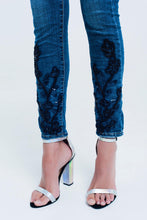 Load image into Gallery viewer, Skinny Blue Jeans With Strass - Esquire Label