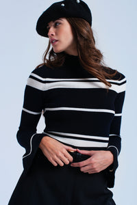 Cream Striped Black Sweater - Esquire Label