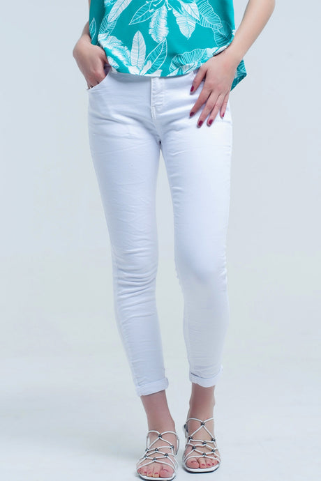Skinny Denim Jeans in White - Esquire Label