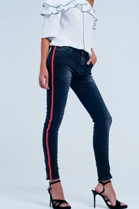 Black Boyfriend Jeans With Side Band - Esquire Label