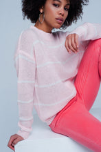 Load image into Gallery viewer, Pink Striped Crew Neck Sweater - Esquire Label