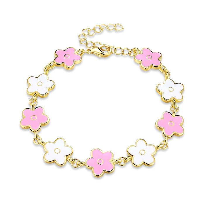 White & Pink Enamel Clover Bracelet in 14K Gold - Esquire Label