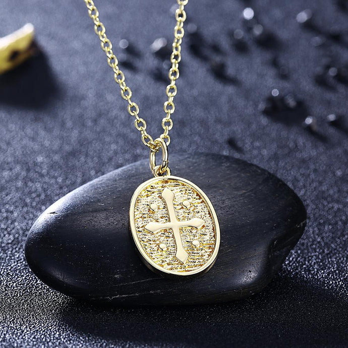 18K Coin Cross Necklace in 18K Gold Plated - Esquire Label