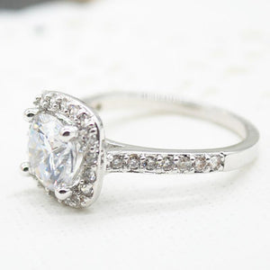 2.00 CT Cushion-Cut Queen White Swarovski Elements Ring - Esquire Label