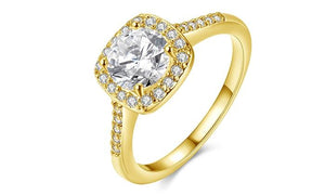 18K Gold-Plated Halo Ring Made with Swarovski Elements with Free Swarovski Elements Studs - Esquire Label