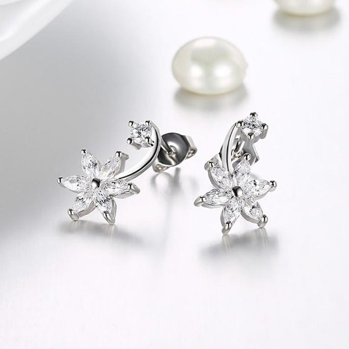 Swarovski Crystal Star Shaped Crawler Earrings Set in 18K White Gold - Esquire Label