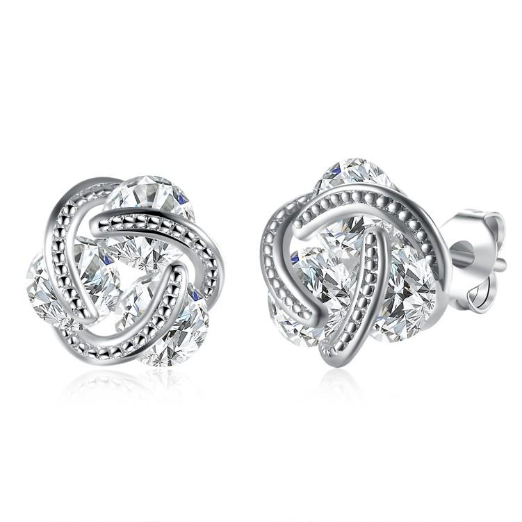 Swarovski Crystal Mesh Knot Earrings Set in 18K White Gold - Esquire Label
