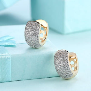 Swarovski Crystal Micro Pav'e Thick Cut Round Huggies Set in 18K Gold - Esquire Label