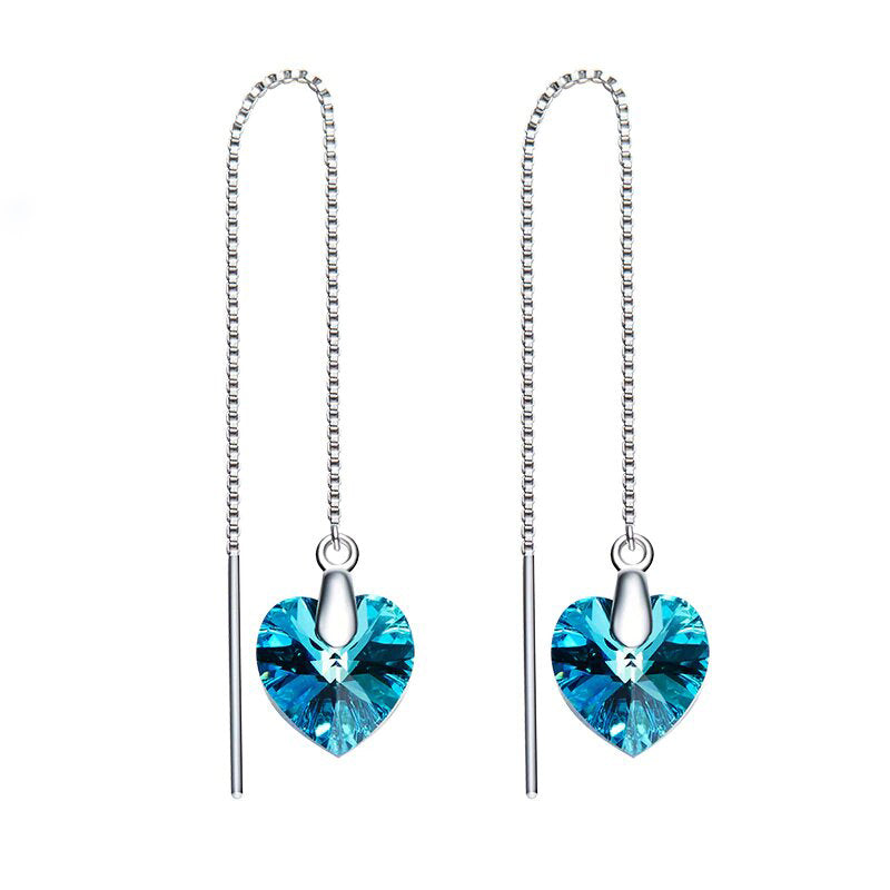 Swarovski Crystals Bermuda Blue Threader Drop  Earring - Esquire Label