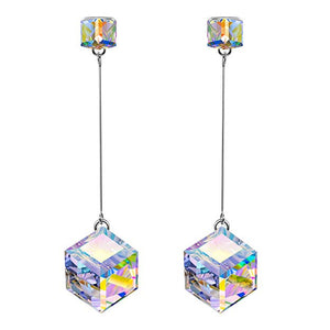 "Swarovski Crystals Aurora Borealis 1.7"" Cube Drop  Earring - Esquire Label"