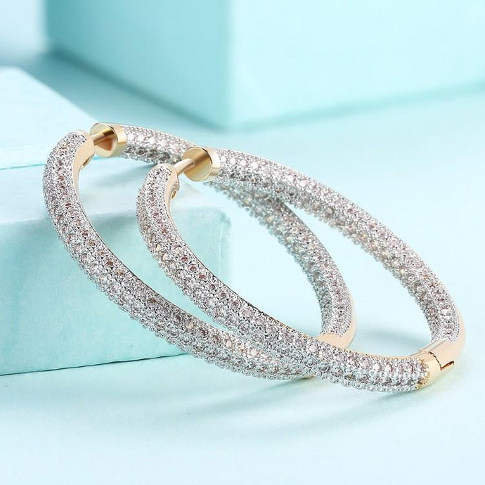 Swarovski Elements Micro Pave' Hoop Earrings in 18K Gold Plated - Esquire Label