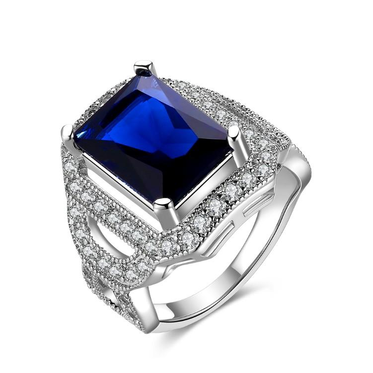 Sapphire Emerald Cut Micro-Pav'e White Gold Cocktail Ring - Esquire Label