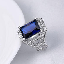 Load image into Gallery viewer, Sapphire Emerald Cut Micro-Pav'e White Gold Cocktail Ring - Esquire Label