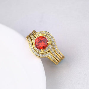Ruby Micro-Pav'e Curved Setting Cocktail White Gold Ring - Esquire Label