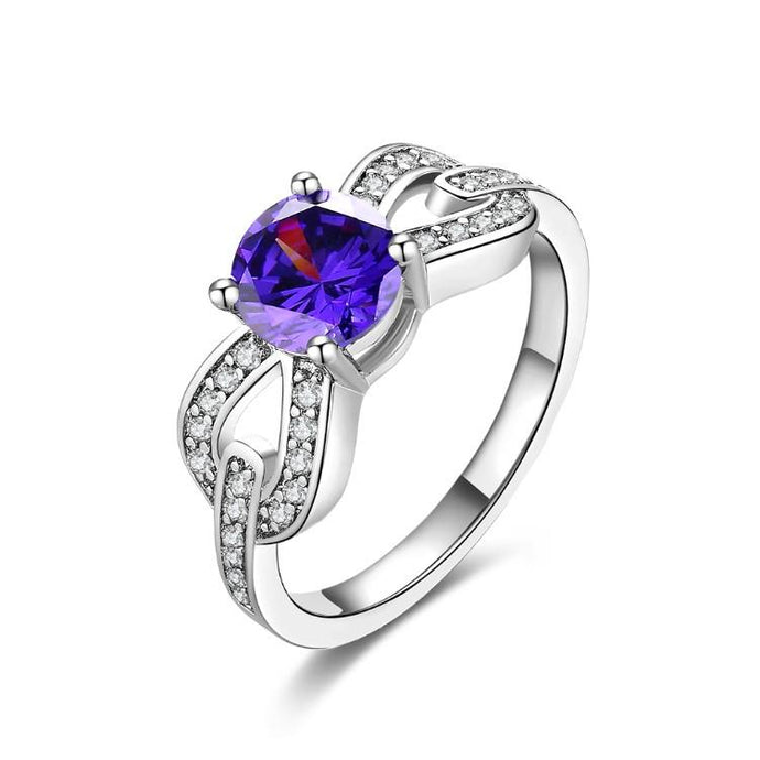 Tanzanite Princess Cut Braided Ring In White Gold - Esquire Label