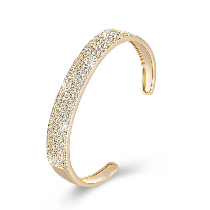 Swarovski Elements Glitter Pav'e Open Bangle in 14K Gold - Esquire Label