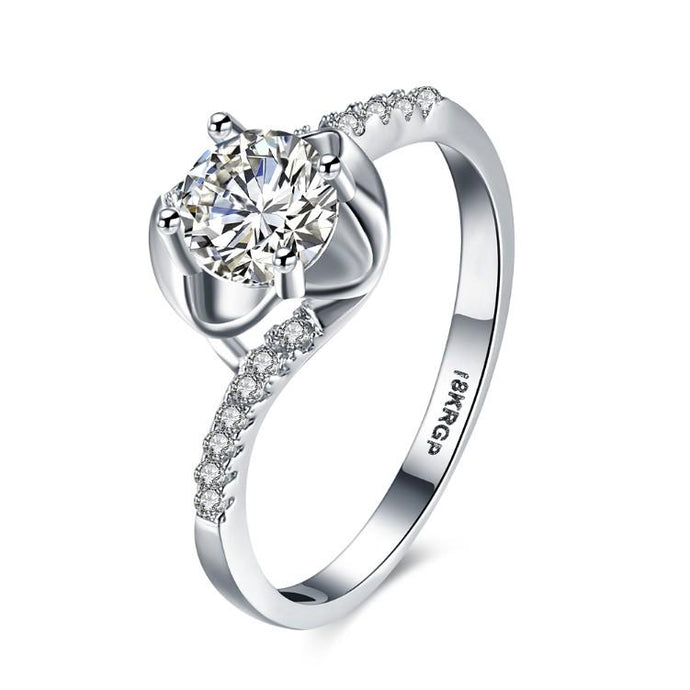 1.00 CTTW Engagement Cut Floral White Crystal Pav'e Ring - Esquire Label