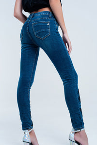 Skinny Blue Jeans With Strass - Esquire Label