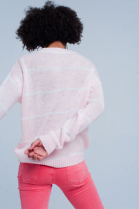Pink Striped Crew Neck Sweater - Esquire Label