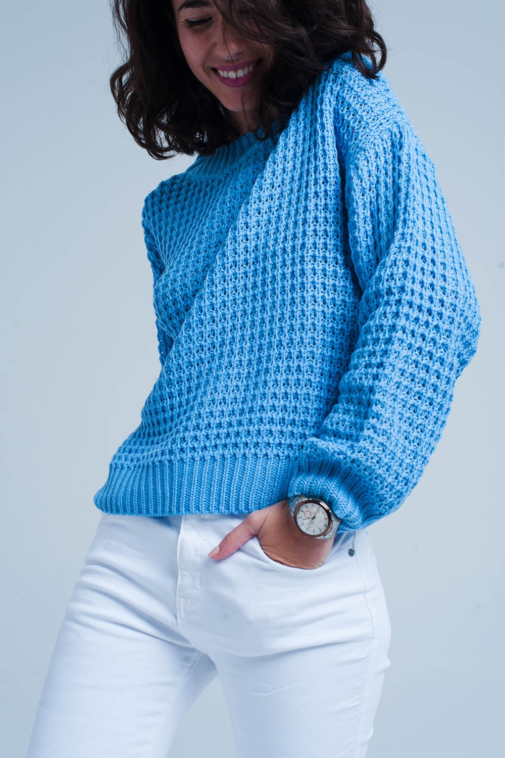 Blue Chunky Waffle Knit Sweater - Esquire Label
