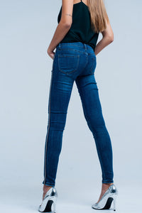 Blue Skinny Jeans With Metal Side Stripe - Esquire Label