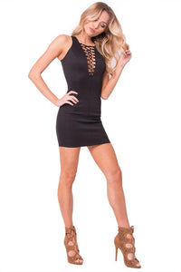 Lace Up Sleeveless Mini Dress - Esquire Label